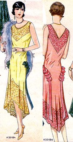 Vintage Sewing Patterns -Original- Pre 1929 Historical Pattern Collection-- I would make it without the ruffles on the hip - 20s Fashion, Fashion History, Art Deco Fashion, Retro Fashion, Vintage Fashion, Fashion Outfits, Fashion Design, Fashion Details, Dress Making Patterns