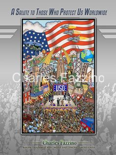The USO poster, 3D PopArt by Charles Fazzino, public art commission.