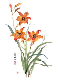 Sumi E Painting, Lily Painting, Fabric Painting, Watercolour Painting, Watercolor Lettering, Watercolor Cards, Watercolor Flowers, Japanese Painting, Chinese Painting