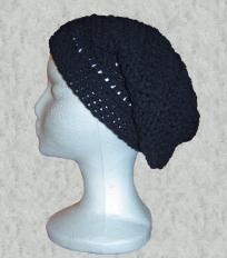 Handmade Crochet Black Slouchy Hat