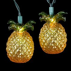 Set of 10 Beach Party Tropical Golden Pineapple Christmas Lights  Green Wire * Click image for more details.