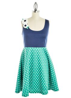 Navy Tank Top Dress with Green and White Polka Dot Skirt and Shoulder Flower