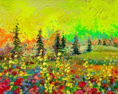 By Iris Scott | oil on canvas | finger painting | originals and prints | www.IrisScottFineArt.com | Pine trees sit scattered before the horizon against a neon yellow sky. The bright orange sun can be seen coming up behind the hills.