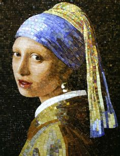 For example, every woman needs an LBD (little black dress), and a pair of pearl earrings. Pearl earrings have the wonderful ability of bein… Mosaic Diy, Mosaic Crafts, Mosaic Projects, Mosaic Glass, Mosaic Tiles, Glass Art, Stained Glass, Girl With Pearl Earring, Mosaic Portrait