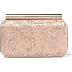 Oscar de la Renta Saya embellished satin clutch ($1,074) ❤ liked on Polyvore featuring bags, handbags, clutches, purses, sac, blush, pink purse, cocktail purse, sparkly purses and pink hand bags