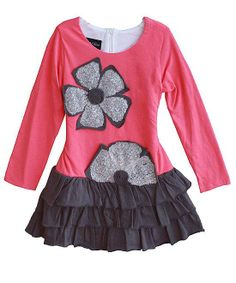 Isobella and Chloe SANDY Coral Grey Sequin Flower Dress Girls 4-6x