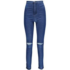 Boohoo Lara High Rise Ripped Knee Tube Jeans | Boohoo ($32) ❤ liked on Polyvore featuring jeans, distressing jeans, destroyed jeans, high waisted ripped jeans, destruction jeans and highwaist jeans