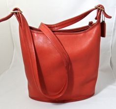 Vintage Coach Red Leather Purse - Cross Body Bucket Style- Made in USA #Coach #Purse