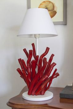 Items similar to Red Coral lamp Driftwood on Etsy Driftwood Lamp, Driftwood Projects, Bedside Lamps Ikea, Coral Lamp, Trunk Furniture, Black Lamps, Gold Lamps, Rustic Crafts, Design Your Home