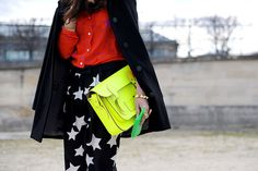 mix of star prints + neon cambridge satchel