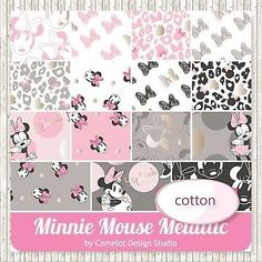 Metallic-Minnie-Mouse-Disney-Cotton-Fabric-Layer-Cake-10x10-Squares-42-Pieces