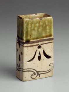 Side dish with design of vines  Japanese, Edo period, 17th century, Oribe type; stoneware with iron wash and copper glaze, MFA