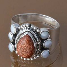 EXCLUSIVE 925 STERLING SILVER BROWN GOLD STONE & PEARL RING 4.93g DJR8343 SZ-8 #Handmade #Ring
