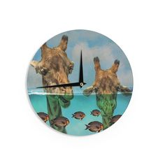 """Suzanne Carter """"Larry & Fred Periscope"""" Mixed Media Animals Wall Clock"""