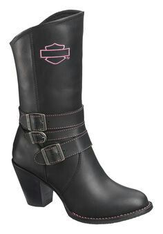Ladies boots with pink HD logo