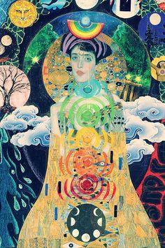 The Chakra System: A Body-Mind Map for Integrative Healing by Kathleen Burr - PranaShanti Yoga Centre Feminine Symbols, Sacred Feminine, Divine Feminine, Chakras, Chakra Art, Chakra System, Rainbow Art, Rainbow Bridge, Goddess Art