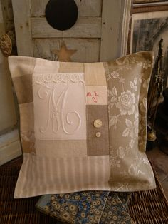 Pillow ~ Patchwork and monogram