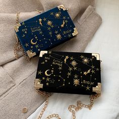 Velvet boxy bag with moon, sun and stars all over. 19 cm x 5 cm x 12 x x Chicken Sweater, Yennefer Of Vengerberg, Luxury Purses, Kawaii Accessories, Accesorios Casual, Sun And Stars, Cute Bags, 2 Colours, Constellations