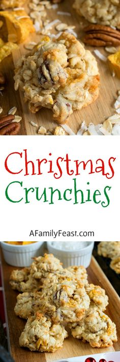 Christmas Crunchies - A delicious vintage cookie loaded with oatmeal, coconut, corn flakes and pecans.