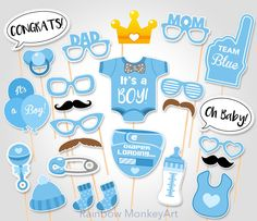 Baby Shower Photo Booth Props Printable Photo por RainbowMonkeyArt                                                                                                                                                                                 Más