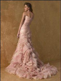 Pink Blush Wedding Dress OMG so pretty love the ruffles