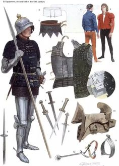 Medieval Weapons and Armor Medieval Weapons, Medieval Knight, Medieval Fantasy, Armadura Medieval, English Knights, Armor Clothing, Landsknecht, Late Middle Ages, Knight Armor