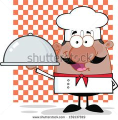 Happy African American Chef Character Holding A Platter. Raster Illustration