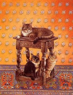"""Love seeing kitties above, kitties below.  This is called """"Tana's Cats,"""" a beautiful painting by the beloved cat artist Lesley Anne Ivory."""