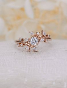 Rose gold engagement ring Diamond Cluster ring Unique moissanite Delicate  leaf wedding women Bridal set Promise Anniversary Gift for her 75ae2b0d31b79