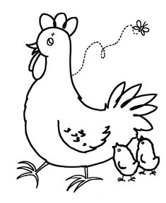Mother Hen Animals Coloring Pages