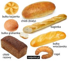 Learn Polish, Polish Language, Polish Recipes, Food Crafts, Speech And Language, Logo Nasa, Hot Dog Buns, Vocabulary, Bread