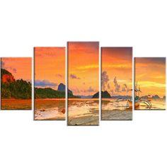 DesignArt 'Boat at Sunset Panorama' Photographic Print Size: