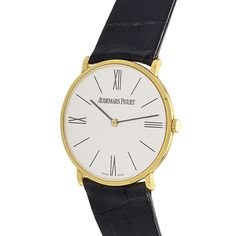 View this item and discover similar for sale at - Audemars Piguet yellow gold gents' wristwatch on a black alligator leather strap. Watch indicates hours and minutes on a beige white dial with index Handsome Man, Audemars Piguet, Roman Numerals, Wrist Watches, Vintage Watches, Clocks, Jewelry Watches, Mens Fashion, Beige