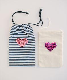 Sequin heart bags