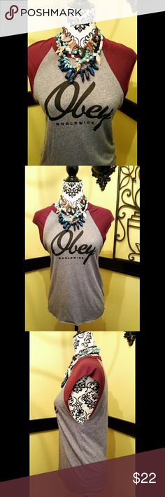 Obey top signature graphic small tee grey EUC  OBEY SLEEVELESS  TEE  SIZE SMALL SLEEVELESS GREY /BURGUNDY Obey Tops Tank Tops