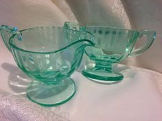 Vintage Green Art Deco Glass Creamer & Sugar Set with Etched Flowers and Stripes