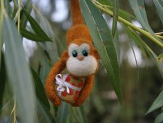 Needle felted monkey Christmas tree decoration by vilnone on Etsy