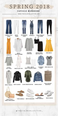 My 2018 Spring Capsule Wardrobe I'm SO excited because today I'm sharing my Spring capsule wardrobe! As you guys know creating a capsule wardrobe is the best way to use the items in your closet efficiently. Capsule Wardrobe 2018, Capsule Outfits, Fashion Capsule, New Wardrobe, Summer Wardrobe, Fashion Outfits, Womens Fashion, Minimalist Wardrobe, Minimalist Fashion