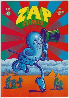 Zap Comix #4 VF, Print Mint, Published July 1969, 2nd Printing. Artwork by Robert Crumb, Rick Griffin, Gil Shelton, Spain Rodriguez, Robert Williams, Victor Moscoso, and S. Clay Wilson; features Mr. Natural, Wonder Wart-Hog and the Checkered Demon. Victor Moscoso cover art. The infamous issue that caused more obscenity busts and community standards trials than any other underground. $48