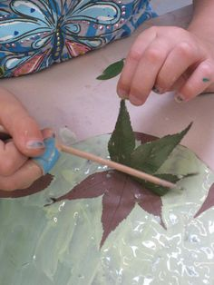 leaf impression..glaze over then peel off...interesting!