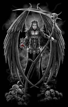 Dark Angel version 2 by *Ironshod on deviantART - Anne Stokes Grim Reaper Images, Female Grim Reaper, Grim Reaper Art, Don't Fear The Reaper, Grim Reaper Tattoo, Dark Fantasy Art, Fantasy Kunst, Dark Art, Angels And Demons
