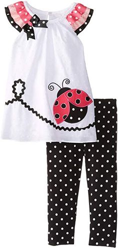 Black Friday Rare Editions Baby Baby-Girls Infant Ladybug Applique Legging Set, White/Black, 12 Months from Rare Editions Cyber Monday Toddler Dress, Toddler Outfits, Baby Dress, Girl Outfits, Little Dresses, Little Girl Dresses, Girls Dresses, Sewing For Kids, Baby Sewing