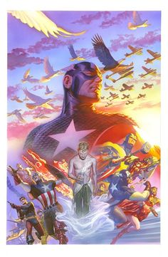 Marvel Anniversary Covers by Alex Ross - Marvel Comics - Avengers - Wanda Maximoff - The Scarlet Witch - Captain America - Comic Book Art Comic Book Characters, Comic Book Heroes, Marvel Characters, Comic Books Art, Comic Book Artists, Marvel Comics Art, Marvel Heroes, Captain Marvel, Alex Ross