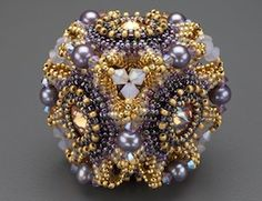 "Laura McCabe kit: ""Geo-Floral"" Beaded Bead Kit, purple & olivine  ($65.00)"