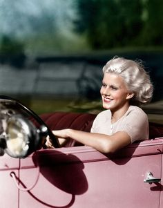 Jean Harlow...love the pink car with maroon interior...great car great looking gal