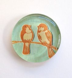 Two Little Birds Handmade Glass Paperweight by TannerGlass on Etsy