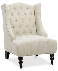 Fabyan High Back Wing Chair, Quick Ship - Tan/Beige