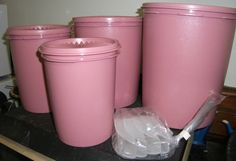 4 Tupperware Nesting Canisters Scoops Dusty Rose Mauve Retro Kitchen | eBay
