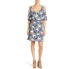 Women's Ella Moss 'Tadala' Print Cold Shoulder Dress (€140) ❤ liked on Polyvore featuring dresses, denim, plunging neckline dress, plunge-neck dresses, floral-print dresses, long-sleeve denim dresses and cold shoulder dress