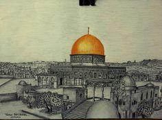 kubbetüs sahra karakalem Palestine Art, Dome Of The Rock, Temple Mount, Pottery Videos, Palestinian Embroidery, Islamic Paintings, Ink Pen Drawings, Islamic Wall Art, Illustrations